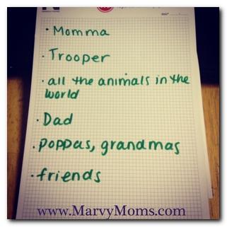Bedtime Gratitude - Marvy Moms