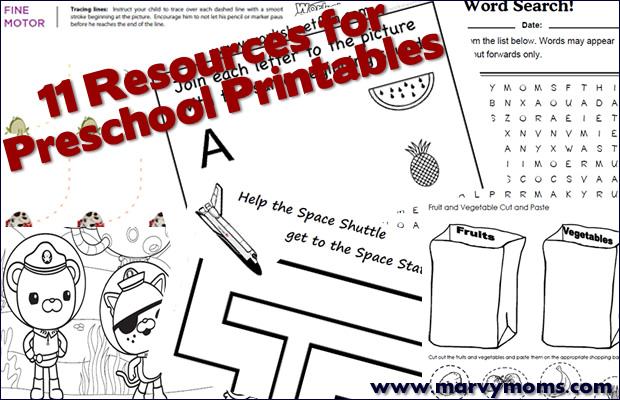 11 Resources for Preschool Printables