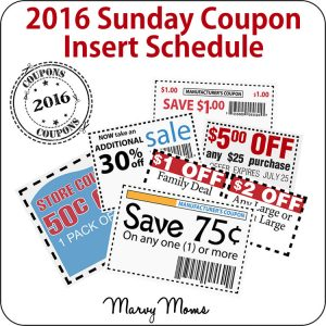 2016 Sunday Coupon Inserts Schedule
